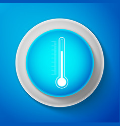 white thermometer icon isolated on blue background vector image