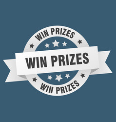 win prizes ribbon win prizes round white sign win vector image