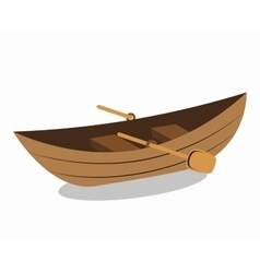 wooden canoe isolated icon vector image