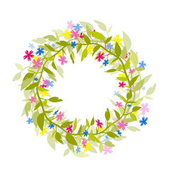 wreath of flowers and herbs isolated image vector image