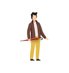 young man standing with umbrella in autumn outwear vector image