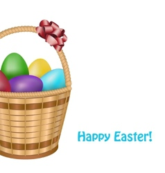 Easter basket with colorful eggs vector image vector image