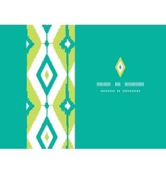 Emerald green ikat diamonds horizontal seamless vector