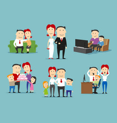 family in different life stages cartoon set vector image