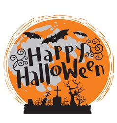 Happy Halloween lettering with moon and bats vector image vector image