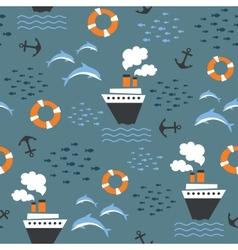 Seamless pattern on marine theme vector image vector image