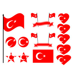 turkey flag set collection of symbols flag vector image vector image