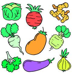 doodle of fresh vegetable object set vector image