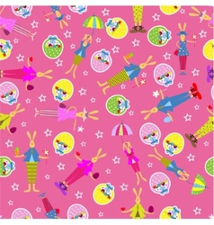 Easter bunny seamless pattern holiday background vector image vector image