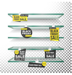 empty supermarket shelves black friday sale vector image vector image