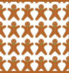 gingerbread men seamless pattern vector image vector image