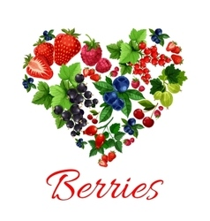 I love berries heart shape emblem vector image vector image