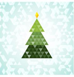 merry christmas green tree triangular pattern vector image