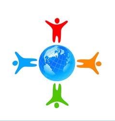 people global world template vector image
