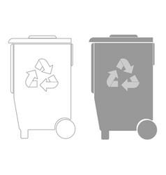 refuse bin with arrows utilization the grey color vector image