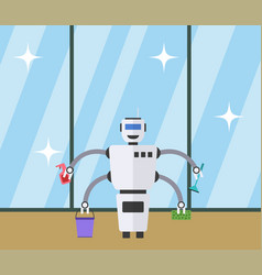 robot cleaner at clean window background vector image
