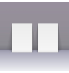 Sheets of blank paper beside the wall vector image
