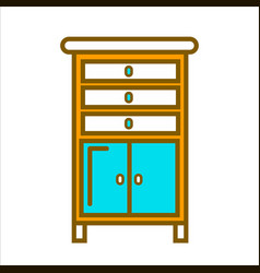 Tall commode with chest of drawers and small vector