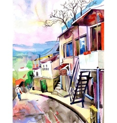 watercolor painting on paper of old street in vector image
