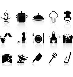 black chef icons set vector image