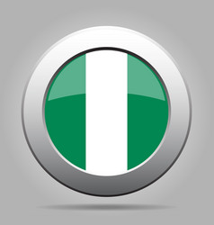 flag of nigeria shiny metal gray round button vector image vector image