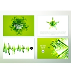 Green Abstract banner design set vector image