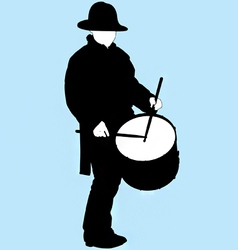 little drummer boy silhouette vector image vector image