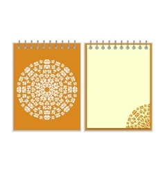 Orange cover notebook with round pattern vector image vector image