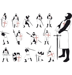 Set of silhouettes of the Crusader vector image vector image