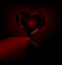 dark red heart-crystal vector image vector image