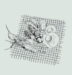 seafood set hand drawn grill sea vector image