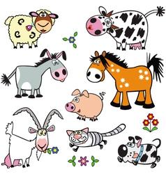 set with cartoon farm animals vector image
