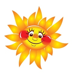 Sun cheerful smiling character vector image