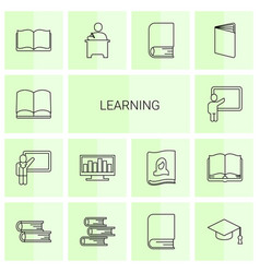 14 learning icons vector image