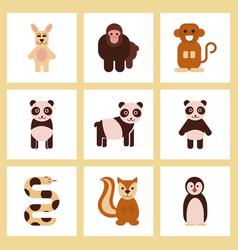 assembly flat icons nature panda monkey rabbit vector image