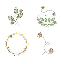 bee logo design set vector image