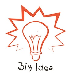 Big Idea with Bulb Outline vector