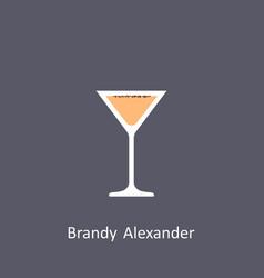 Brandy alexander cocktail icon on dark background vector