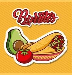 Burritos in bowl avocado and tomato mexican food vector