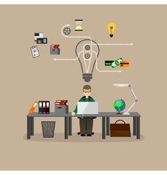 businessman working at a desk vector image