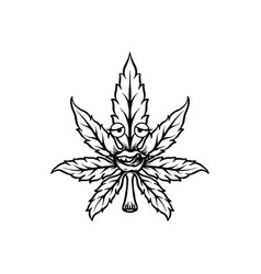 cannabis leaf mascot silhouette vector image