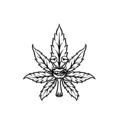 Cannabis leaf mascot silhouette vector