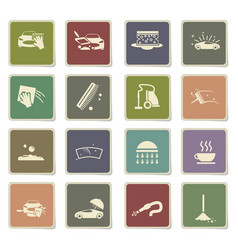 Car washer icon set vector