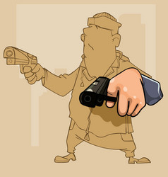 cartoon male perp with two pistol in his hands vector image