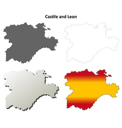 Castile and Leon blank outline map set vector