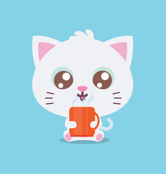 character cat with cooffe collection vector image