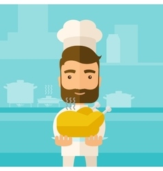 Chef presenting a tasty cooked turkey vector image