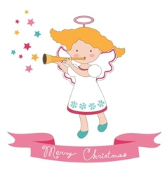Christmas card with little angel vector