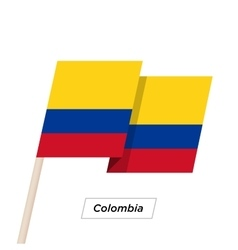 Colombia Ribbon Waving Flag Isolated on White vector