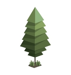 colorful green pine tree with pixel design vector image